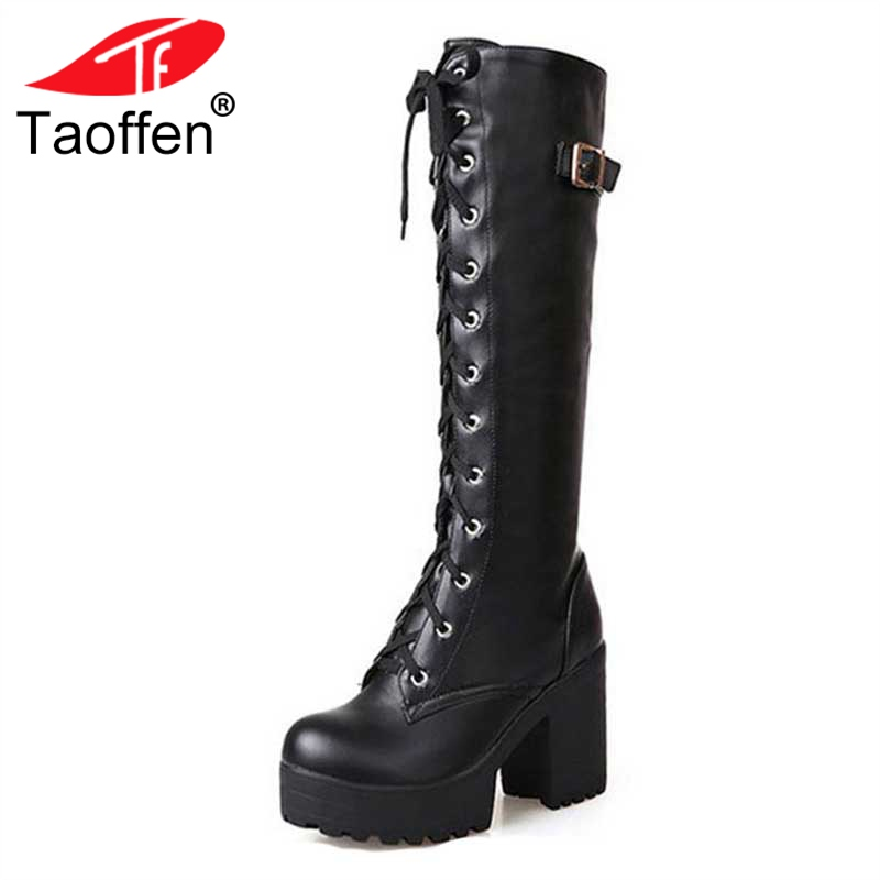 цена Taoffen Size 34-43 Sexy High Heel Boots Women Shoes Lace Up Thick Platform knee High Heels Winter Shoes Fur Women Snow Boots