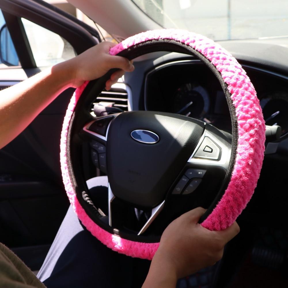 TOOGOO R Winter Car Steering Wheel Cover//Universal Soft Warm Plush Covers for steering women men girl car interior black