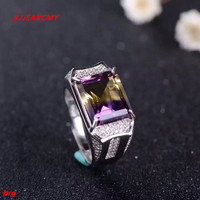 KJJEAXCMY fine jewelry S925 pure silver Mosaic amethyst cut lady's rectangular diamond ring