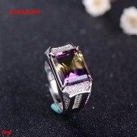 KJJEAXCMY fine jewelry S925 pure silver Mosaic amethyst cut lady's rectangular diamond ring