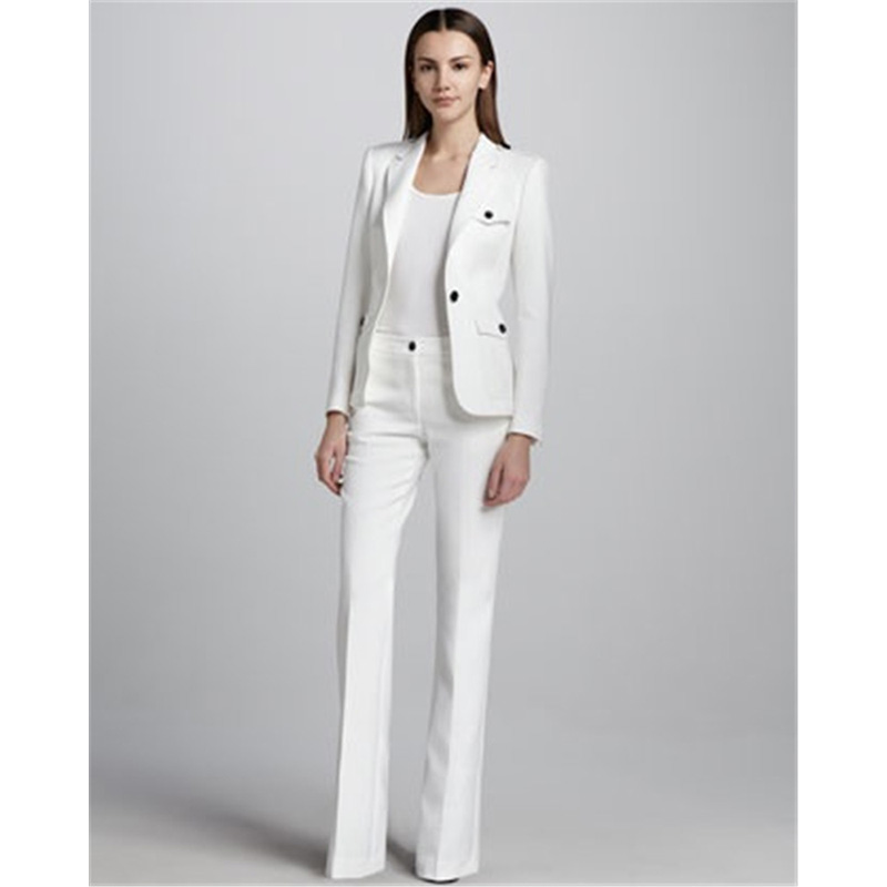 White One Button Womens Business Work Suits Female Office Uniform Wedding Tuxedo Ladies Formal Trouser Suits 2 Piece Sets CUSTOM