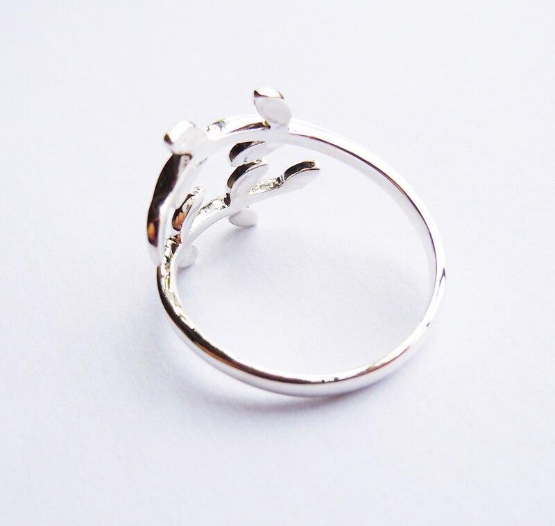 Կոշտ ստերլինգ արծաթե տերևի օղակ բոլոր - Նորաձև զարդեր - Լուսանկար 3