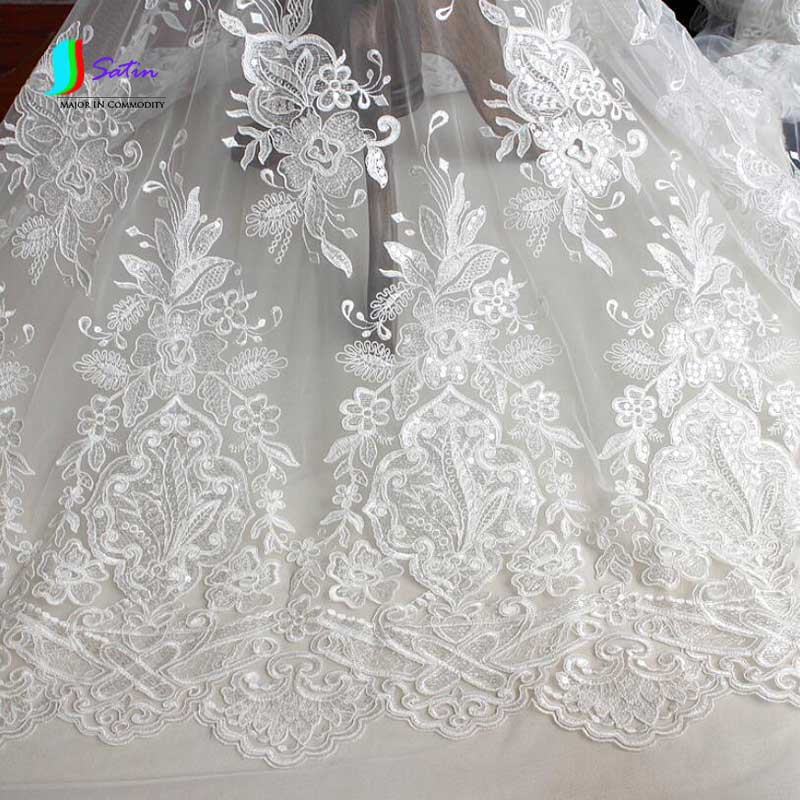 Ivory white embroidered tulle mesh wedding dress lace for White lace fabric for wedding dresses