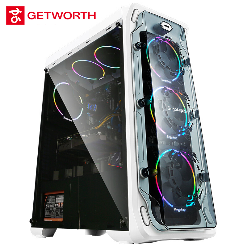 GETWORTH S7 Desktop Computer Ryzen 7 1700 GeForece GTX1080 240G SSD 1TB 500W Free LED Fans 8G RAM Win10 PUBG Free Shipping getworth s6 office desktop computer free keyboard and mouse intel i5 8500 180g ssd 8g ram 230w psu b360 motherboard win10