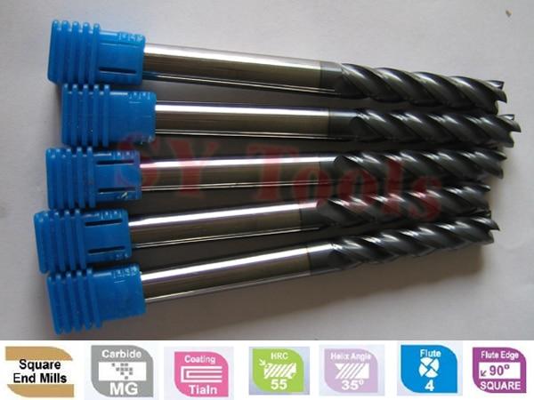 1 bag (60pcs) End Mills hrc45 CNC Ball nose end mills & Flat Endmills solid carbide milling tools cutters