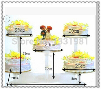 Popular 5 Tier Round Clear Acrylic Wedding Cupcake Stand Birthday Cake Stand For Party