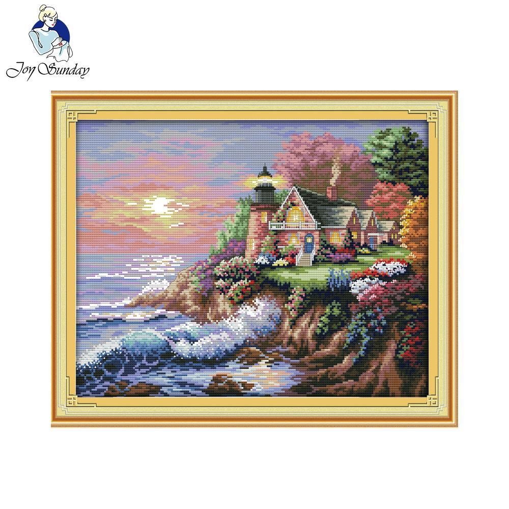 Joy Sunday The Seaside Lighthouse Needlework DIY Cross Stitch Embroidery Home Decoration Handmade Cross Stitch Free Shipping