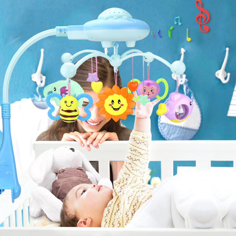 Music And Sky Stars Projection Baby Rattle Crib Mobility Baby Toys For 0-12 Months Crib Muziek Mobile Bed Bell Educational Toys