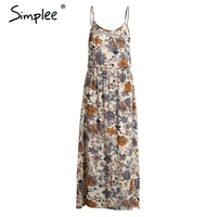 Simplee Beach Summer Dress New Year Boho Style Long Dress Women Vintage Chifon White Maxi Dress