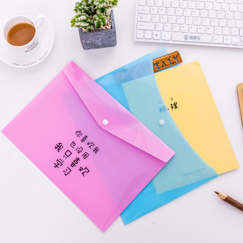 Spirited 1pcs Novelty Creative New Candy Color Study Words Master Pvc Invoice Folder Pencil A4 Document File Bag E0719 Suitable For Men And Children Women