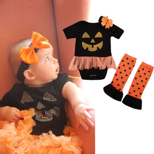 3Pcs Halloween Newborn Toddler Baby Girls Lace Pumpkin Romper + Dot Leg Warmers + Bow Outfits