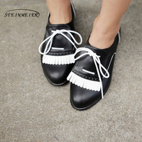 Women Genuine Leather Flat Shoes Handmade White Black Brogue Lace Up Comfortable Sneakers Oxford Shoes For