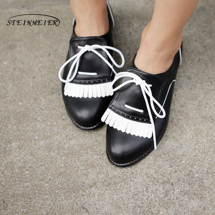Women genuine leather flat shoes handmade white black brogue lace up comfortable sneakers oxford shoes for women shoes flats brogue shoes woman genuine leather custom made lace up black oxford shoes for women chaussures femme scarpe donna
