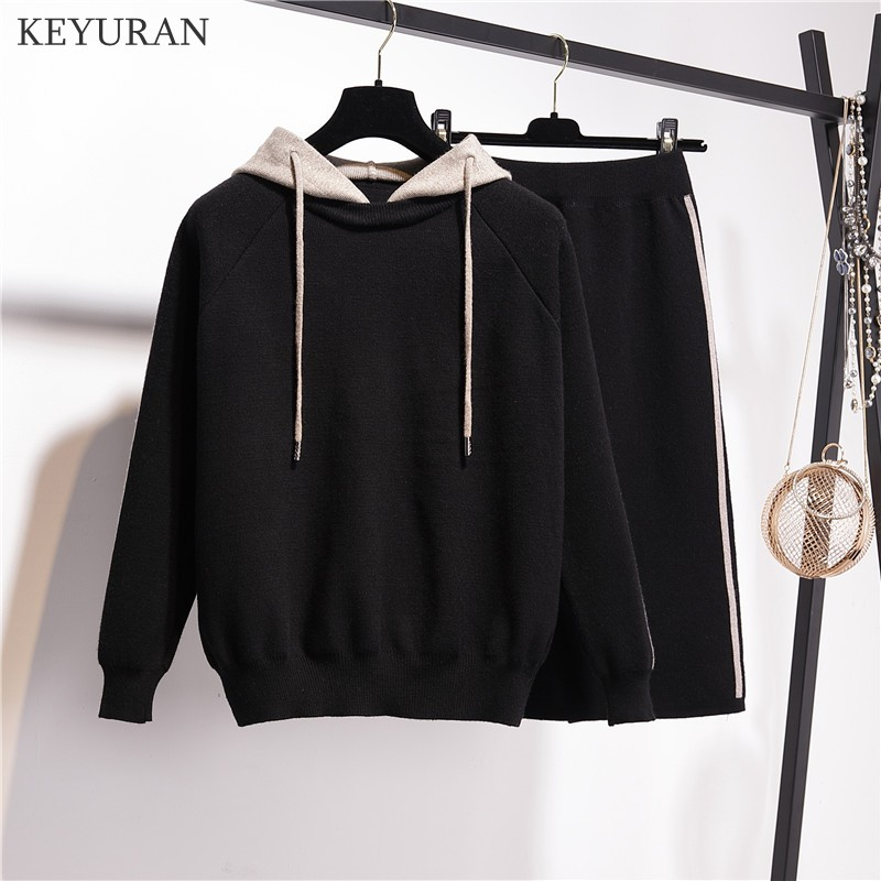 Large Plus Size New Knitted Two Piece Set Women Casual Split Elastic Waist Skirt And Hooded Sweater Tops 2019 Autumn Winter Suit