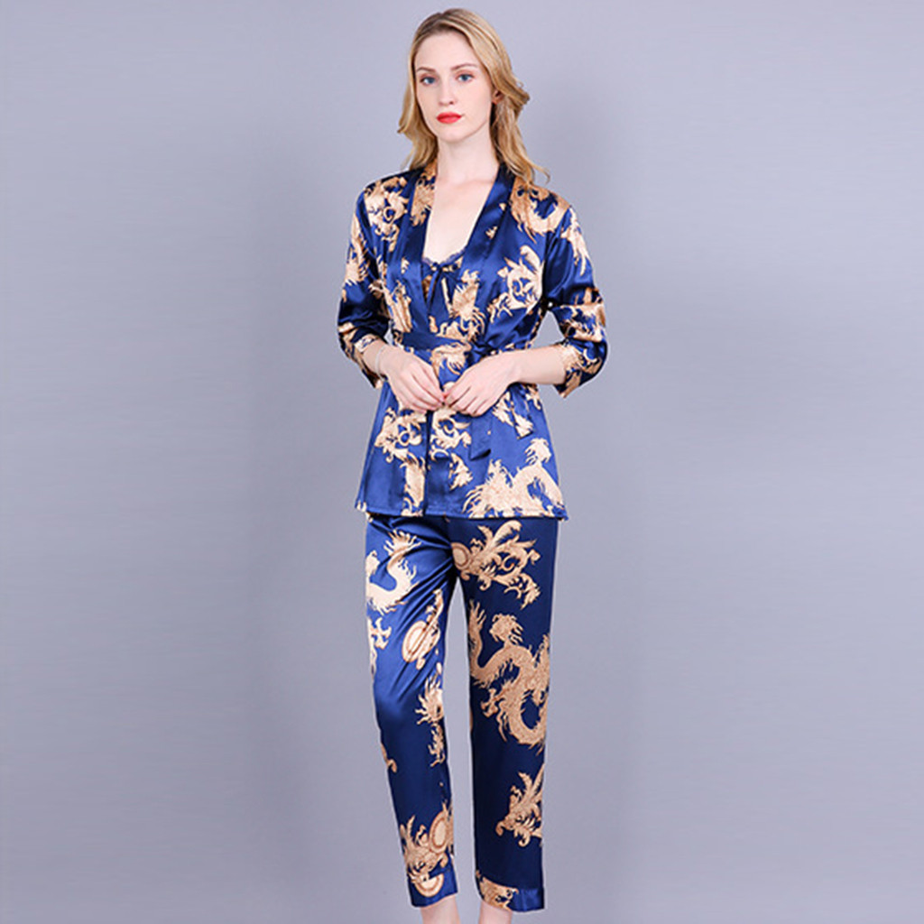3 Pieces Sets Satin Sleepwear Female Camis Strappy Tops Sexy Women Pajamas Lace