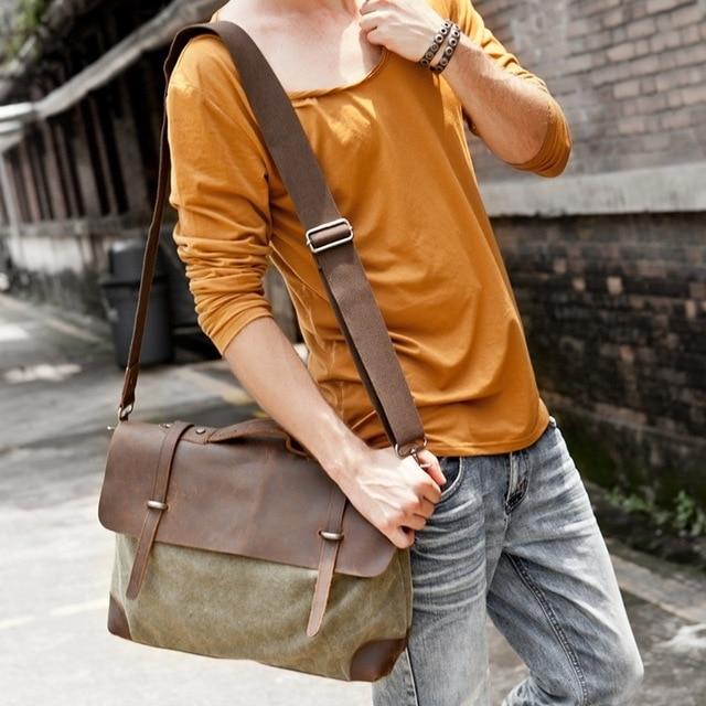 0dab5d861562 Man s Cotton Canvas Leather Menssenger Shoulder Bag Crossbody Traveling  Laptop Casual Tote Bag School Handbag