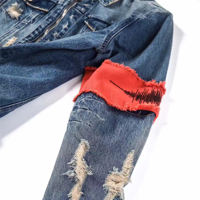 Gesture Embroidery Front Zipper Destroyed Jeans Jacket Men High Street Ripped Denim Jackets Men's Jacket