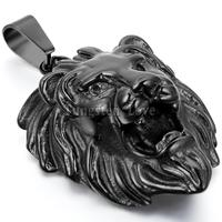 New Vintage Stainless Steel Necklaces Men Animal Lion Head Pendant Black Color With 22 Inches Chain