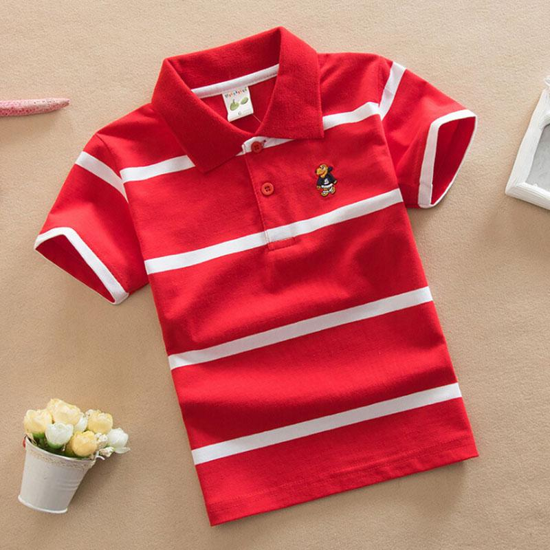2018 Fashion Trendy Summer Kids Boy Polo Short Sleeve Tops Cotton School Polo Shirts Colorful Striped Children Casual Clothing