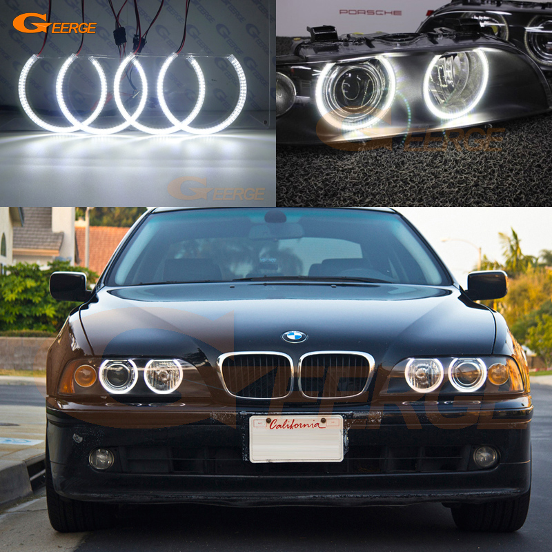 цена на For BMW E39 540i 530i 528i 525i 523i M5 2000-2003 post-facelift headlight Excellent Ultra bright 3528 SMD led Angel Eyes kit DRL