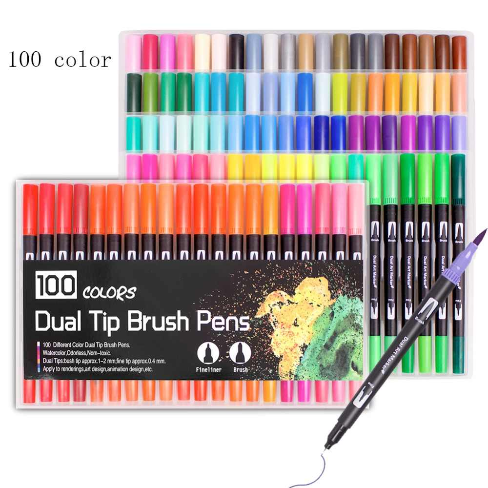 for Lettering Calligraphy Bullet Journaling Painting Art Markers Highlighters Kids /& Adults Dual Tip Pen Professional Set Sketch Twin Marker Pens 24 Colors Watercolor Brush Pens