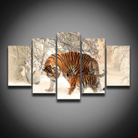 Framed Printed Tiger Animal Painting On Canvas 5 Panels Landscape Wall Art Home Decoration Canvas Art