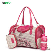 Cool Breathable Pet Bag Outdoors Travel Portable Dog Bag Women Fashionable Floral Handbag for Small Dogs Cats Carrier Bags Pink