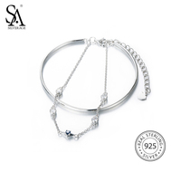 SILVERAGE Real 925 Sterling Silver Two Layered Bracelets Fine Jewelry Women Chain Bangle Cubic Zirconia 2016