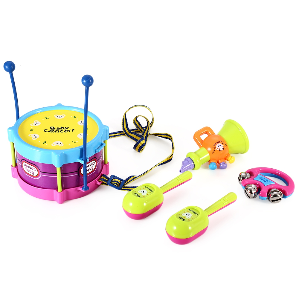 5pcs Children Mini Drum Rattles Educational Game Baby Concert Musical Instrument Assembly Toy Set Kids Educational Toys