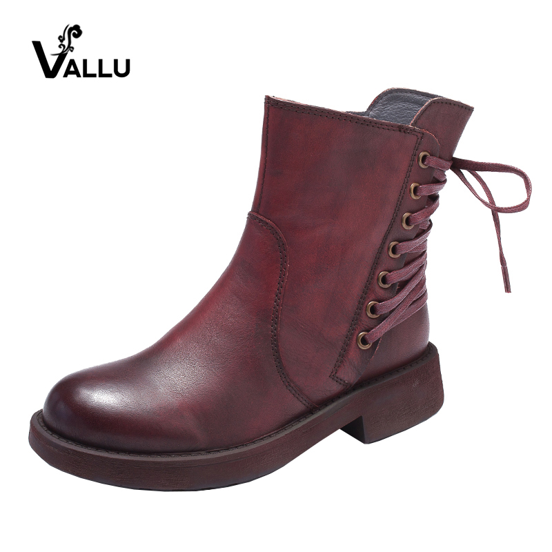 VALLU 2018 Women Boots Round Toes Genuine Leather Handmade Vintage Women Ankle Boots Casual Martin Boots black women ankle boots handmade vintage medium heel round head shoes elegant boots xiangban