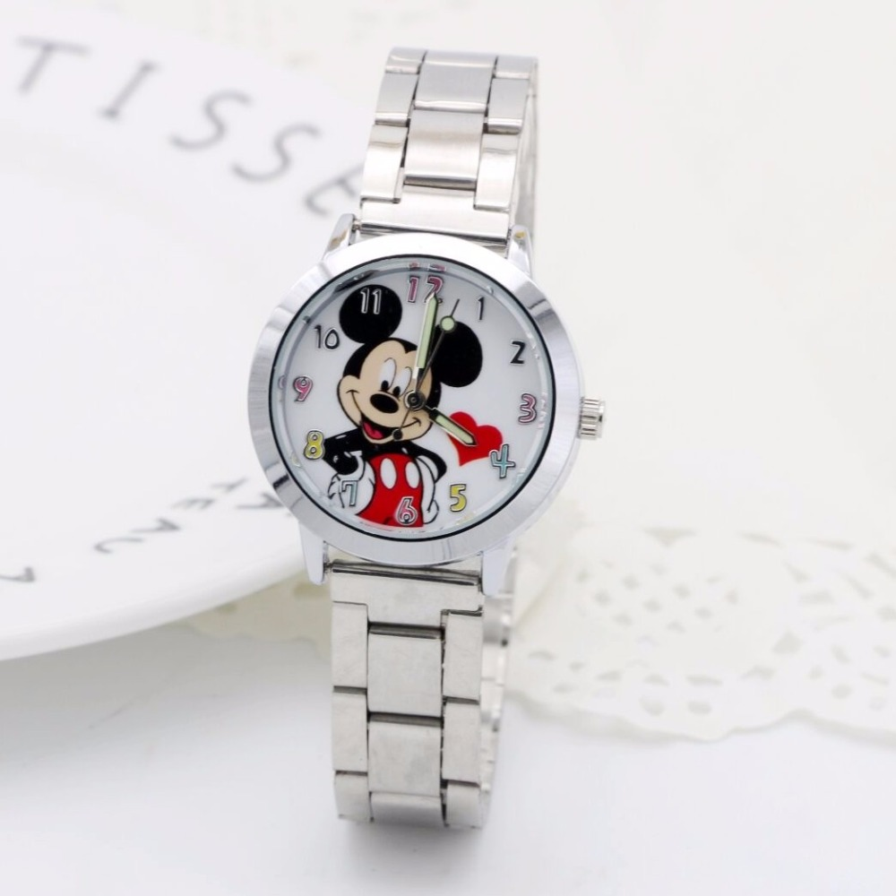 Hot Mickey Mouse Brand Women Watch Stylish Stainless Steel Mesh Watch Casual Quartz Watch Girls Gift Children Watch Reloj Mujer