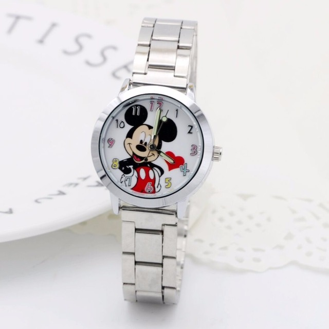 Hot Mickey Mouse brand women watch stylish stainless steel mesh watch casual qua