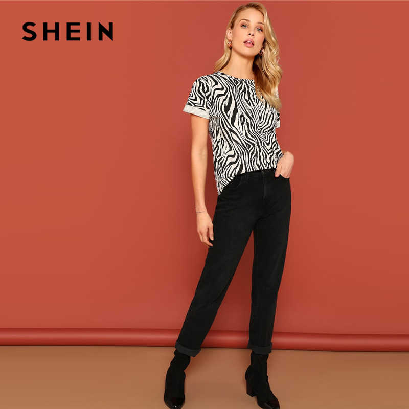 95e457eb4b91 ... SHEIN Black and White Roll Up Cuff Animal Zebra Print Top Blouse Roll  Up Sleeve Round ...