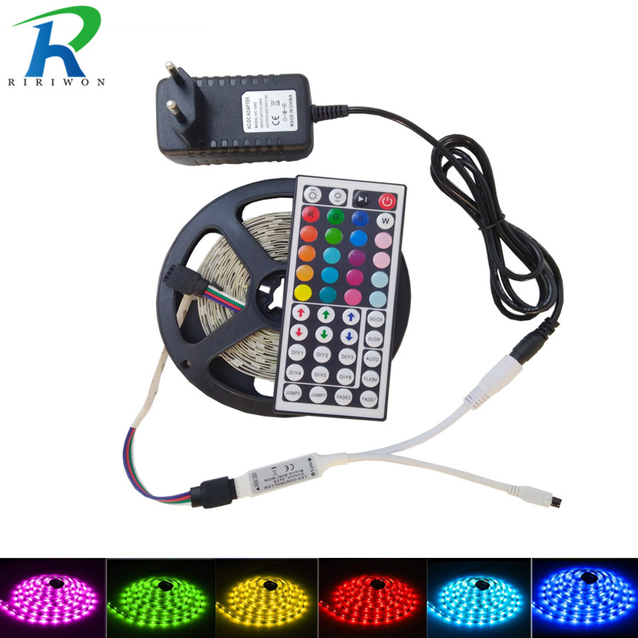 5M 10M Rgb Led Strip Light DC 12V Led Tape Nonwaterproof Light strip 5050 Led Ribbon Flexible With IR 44 Key Remote Controller 5050 ip20 rgb led strip dc12v diode tape light with wireless wifi mini controller smart control 44 key ir remote controller