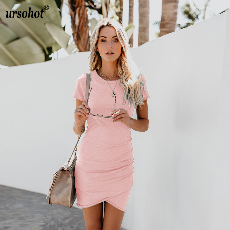 Ursohot 14 Colors Sexy Bodycon Skinny Irregular O Neck Dress Cross Wrinkle Vestidos Summer Casual Mini Women's Dress 2018 New