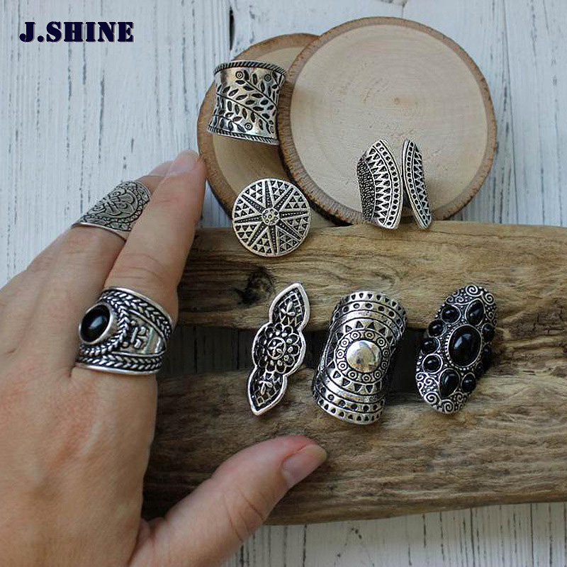 JShine New Bohemia Jewelry Ring Set Tibetan Silver Color Ring 8pcs/Set Female Costume Rings For Women Vintage Indian Jewelry