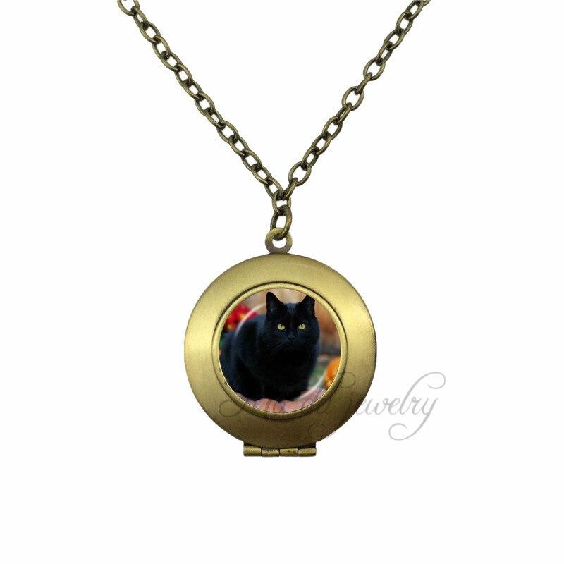 79d6c4512ac8 Halloween gato negro de la joyería bronce antiguo plateado collar negro  Animal colgante naranja ojos animales de la vendimia gargantilla