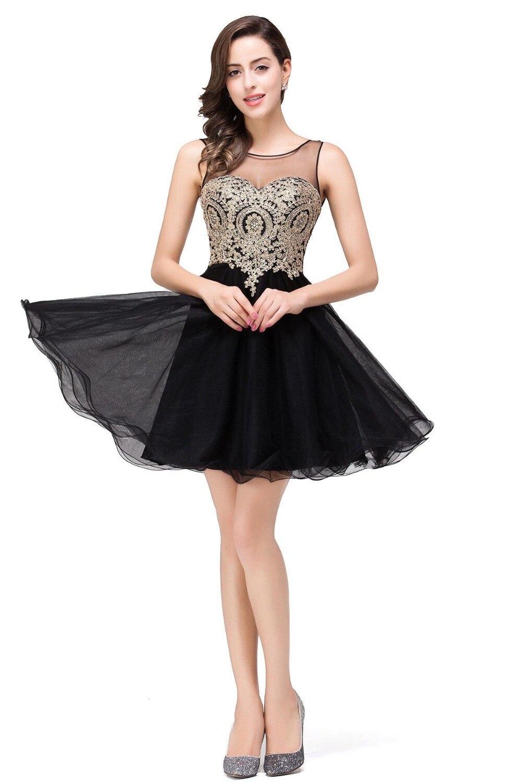 6dc332c6bf2 2017 Scoop Sheer Neck Gold Appliques Black Short Homecoming Dress V Back Party  Short Prom Dress-in Homecoming Dresses from Weddings   Events on ...