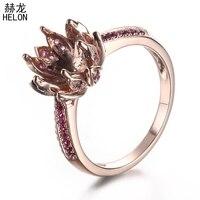 8 9 мм круглая огранка 14 К (585) розовое золото 0.4ct 100% натуральная Рубины Маунт Semi УСТАНОВКА лотоса Обручение обручальное кольцо для женщин ювел