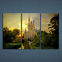 3 Pcs/Set Framed HD Printed Sunset Cinderella Castle Picture Wall Art Canvas Print Decor Poster Canvas Modern Oil Painting