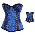 New Zipper Front Plus Size Gothic Floral Sexy Blue Corset Women Steampunk Lace Waist Trainer Overbust Steel Boned Bustier