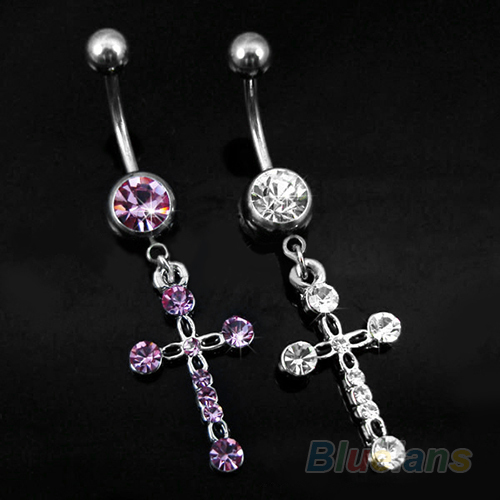 Buy surgical steel cross dangle navel for Belly button jewelry store