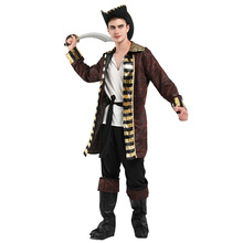 Fantasia Adulto Men Pirates of the Caribbean Captain Costumes Halloween Purim Party Carnival Cosplay Outfits New irek new halloween costume renaissance pirates caribbean men luxury crooks cyclops captain cosplay costume factory direct