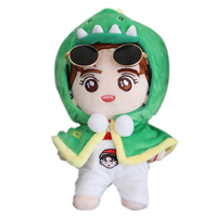 KPOP EXO Kris Plush Toy Dolls Stuffed Doll with Green Cloak Fans Handmade Gift Collection 20cm (glasses pants not include)