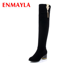 Airfour High Heels Round Toe Zippers Over-the-knee Boots Shoes Woman Large Size 34-43 Black Platform Tassels Charms Riding