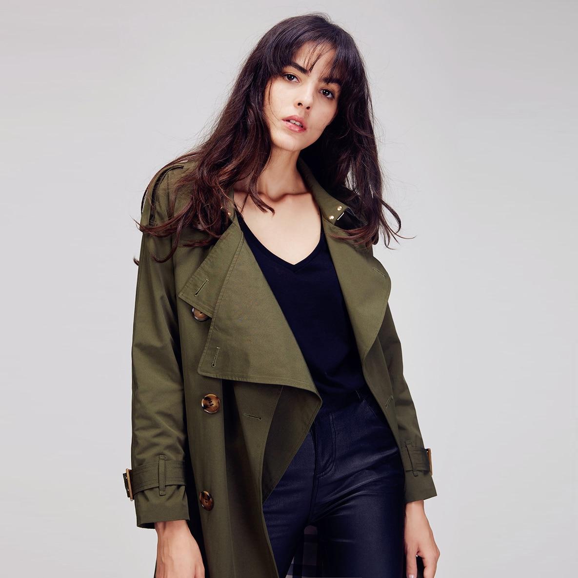 JAZZEVAR 2019 Herfst Nieuwe High Fashion Merk vrouwen Double Breasted trenchcoat Wasserfall Kraag uitloper Losse Kleding-in Loopgraaf van Dames Kleding op  Groep 2