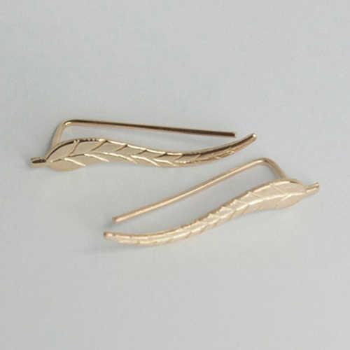 Women Earring Punk Alloy Ear Cuffs Leaf Shape Ear Stud Earrings Women Accessories aretes de mujer modernos 2018 jewelry NEW