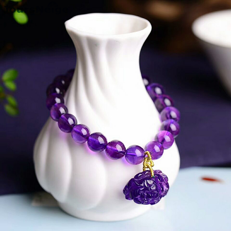 Wholesale Purple Natural Crystal Bracelets Beads With Peony Flower PiXiu Pendant Hand String Beauty for Women Crystal Jewelry natural green phantom crystal 10mm semi everlast crystal beads diy bracelets 40 cm string