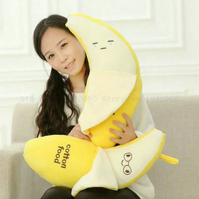 48cm Cute smilies Banana Plush Toys Baby toys stuffed plush Cloth Doll Soft pillow Cushion Fruit toys birthday Gift stuffed animal 120 cm cute love rabbit plush toy pink or purple floral love rabbit soft doll gift w2226