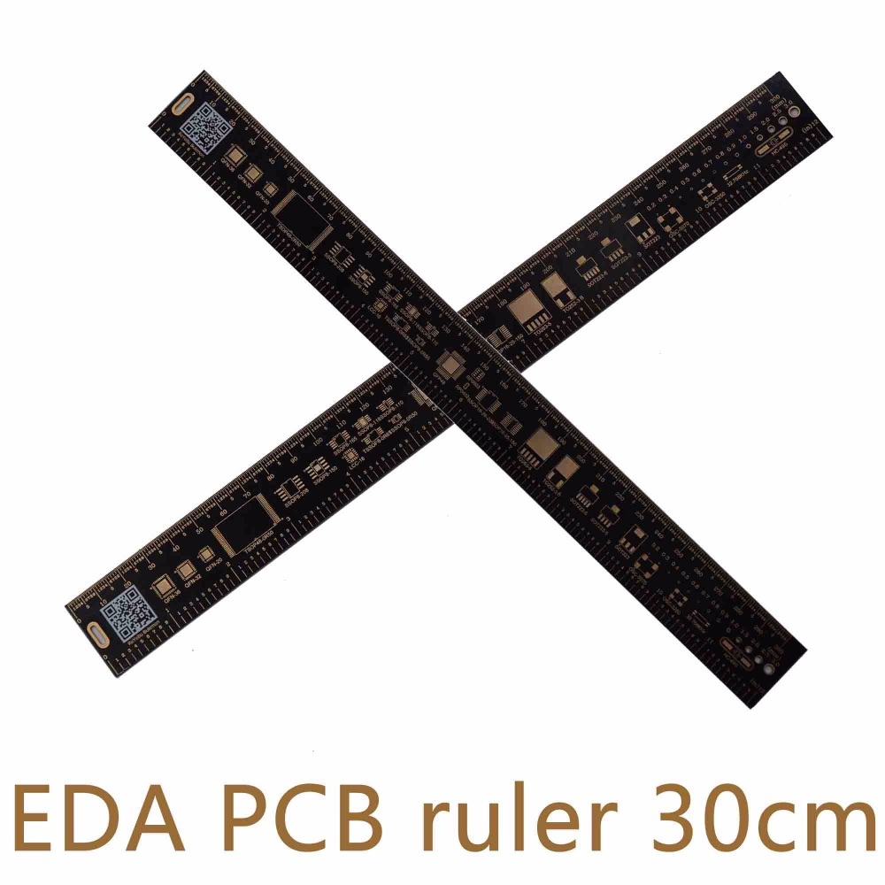10pcs/lot Multifunctional PCB Ruler EDA Measuring Tool Reversible High Precision Protractor 30CM 11.8 Inches Black L7